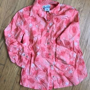 Columbia button up blouse coral medium